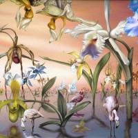 Фламинго в саду орхидей